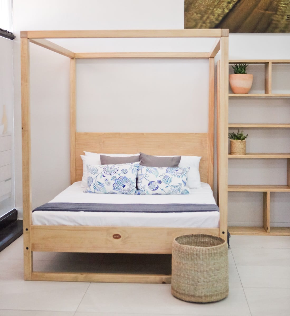 Bedroom Furniture Double 4-Poster Bed with Headboard beds