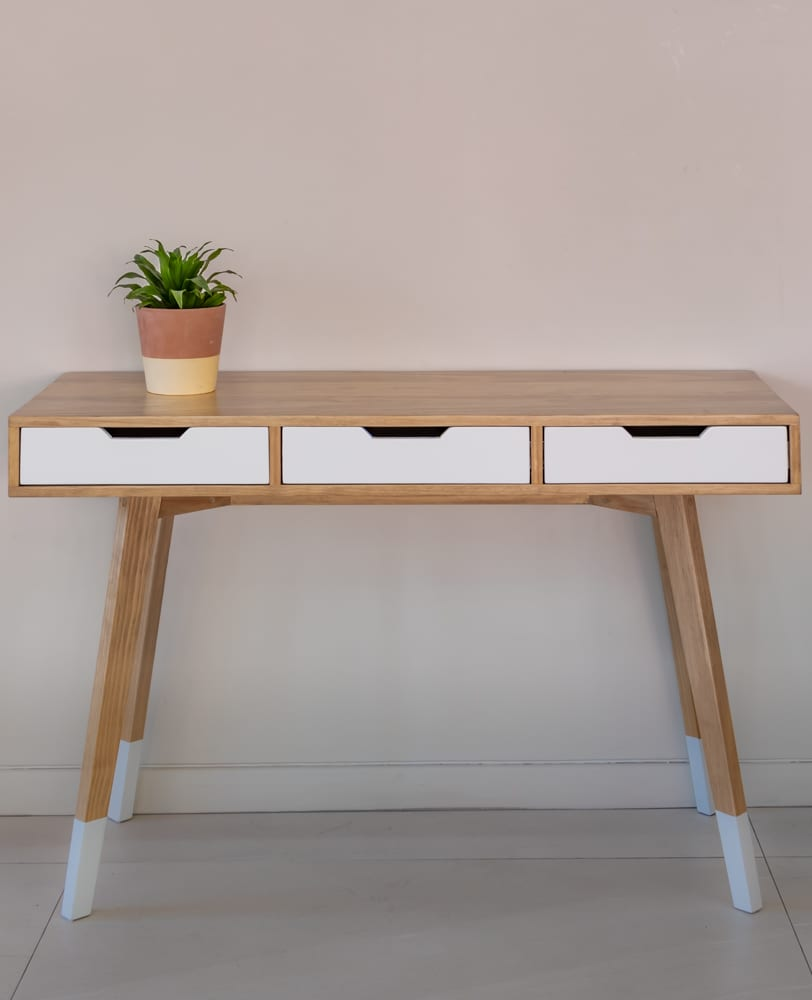 wood and white desk with 3 drawers