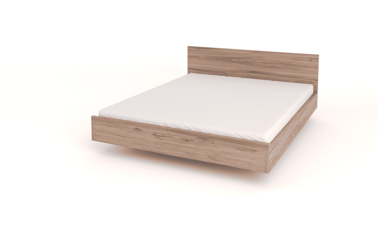 floating bed with headboard wood queen
