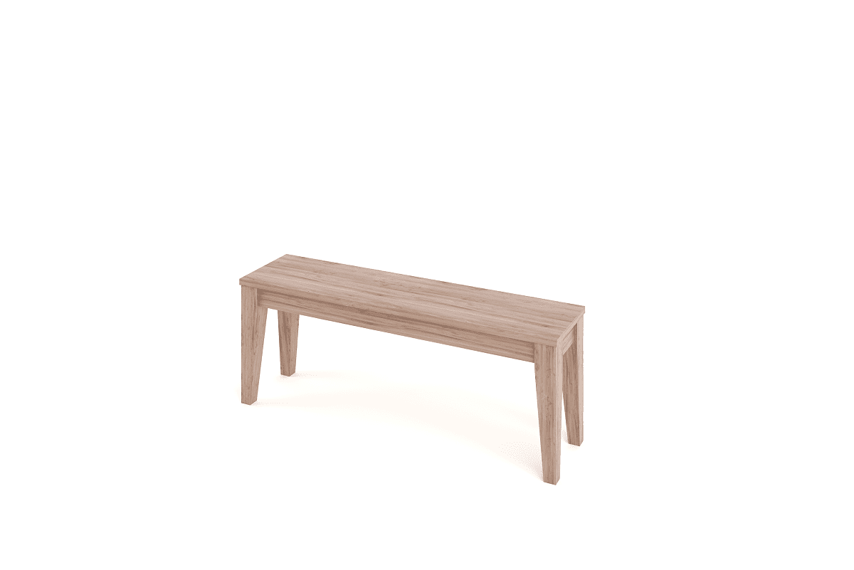 tapered wooden bench