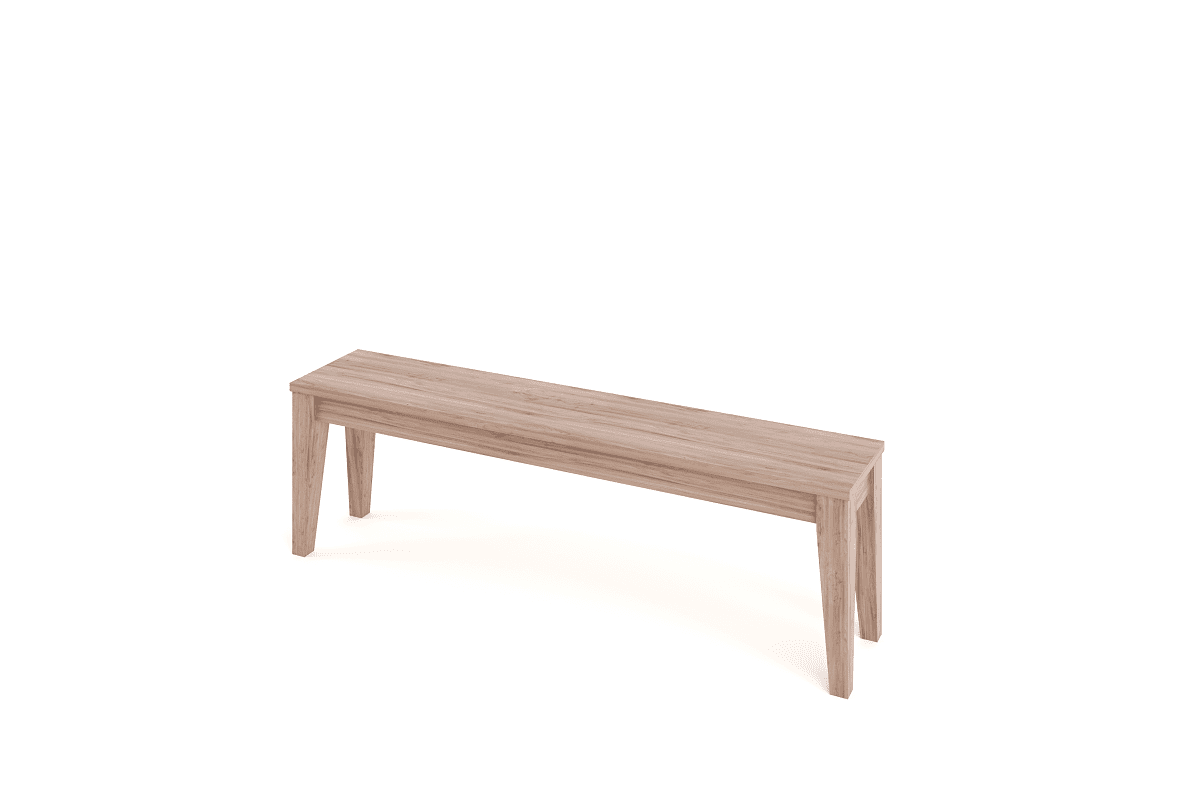 tapered wood bench