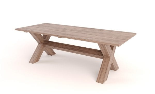 x leg dining room table wood