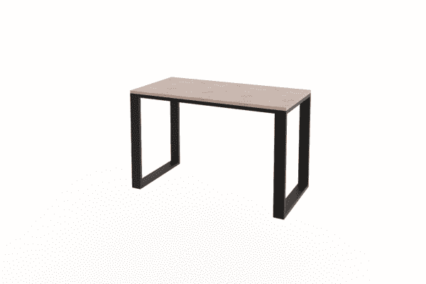 wooden desk with black steel legs