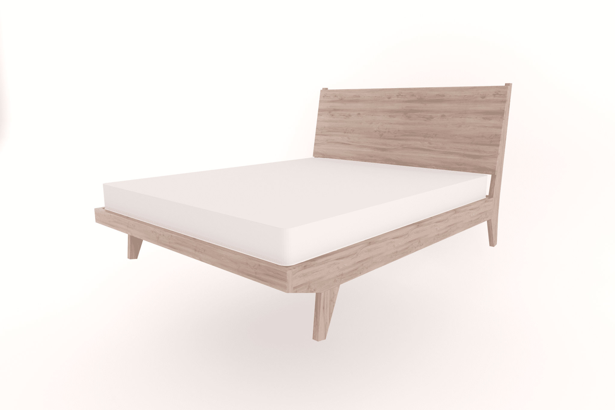 queen sized wooden bed with headboard