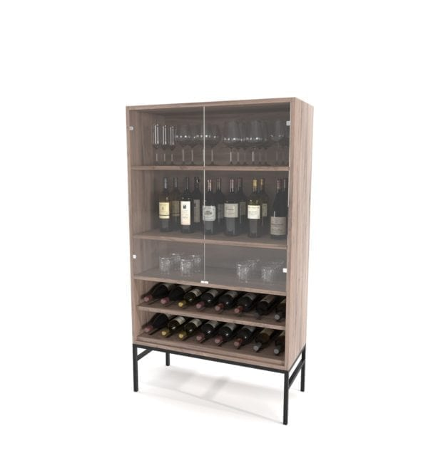 Drinks Cabinet on Steel Base Cabinets and Servers